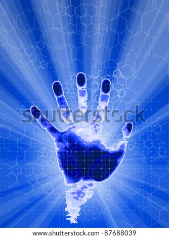 Handprint, blue background, lights and chemical formulas. Bitmap copy my vector ID 16574524 - stock photo