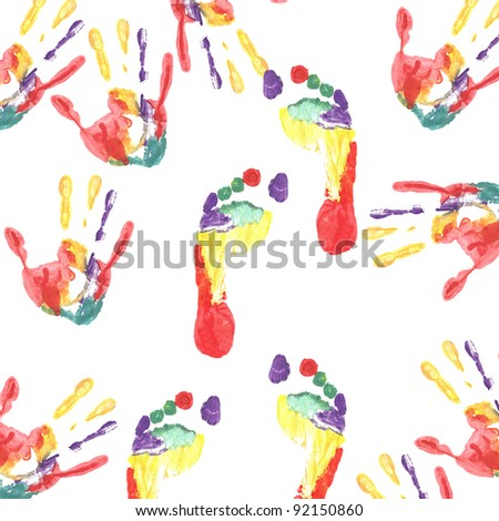 Handprint colored inks colored footprints.