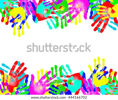 Handprints of different colors scattered on a white background