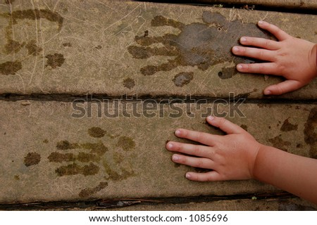 Handprints with water - stock photo