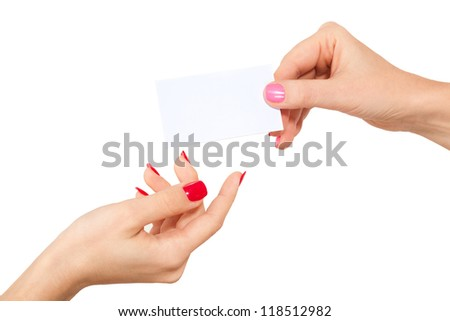 Hands and a business card, isolated on white background.
