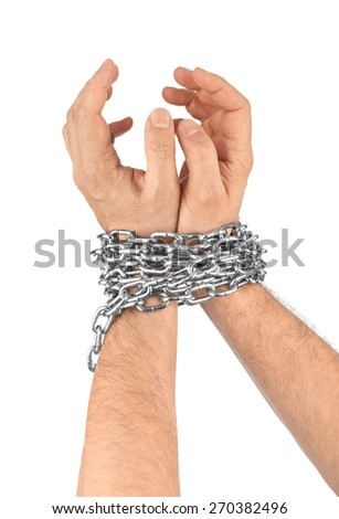 Hands and chain isolated on white background - stock photo
