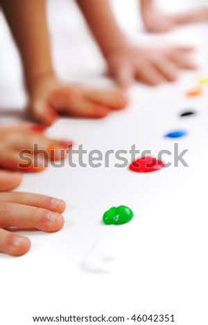 Hands and color, many children - stock photo