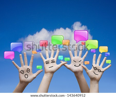 hands and communication icons