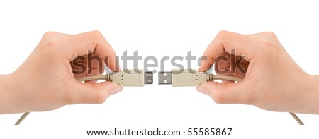 Hands and computer cable isolated on white background - stock photo