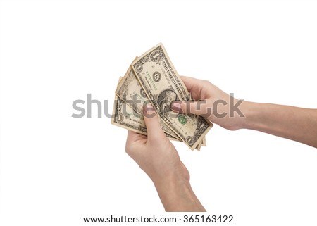 hands and dolar - stock photo