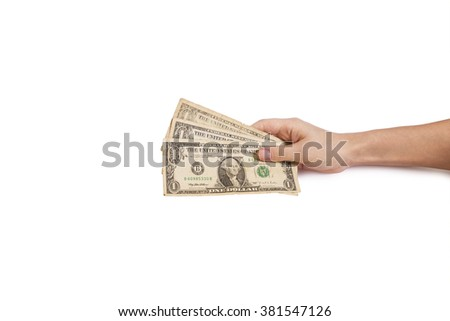 hands and dolar,money - stock photo