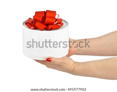 Hands and gift isolated on white background