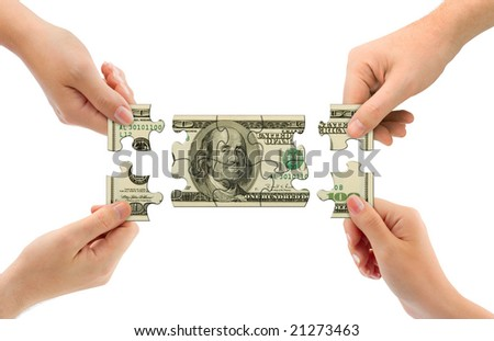 Hands and money puzzle isolated on white background - stock photo