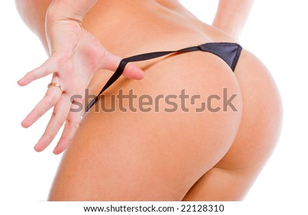 Hands and panties. Isolated over white background - stock photo