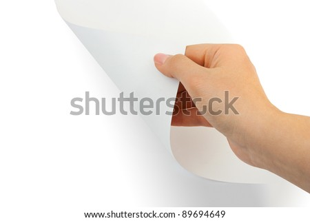 Hands and paper scroll isolated on white background - stock photo