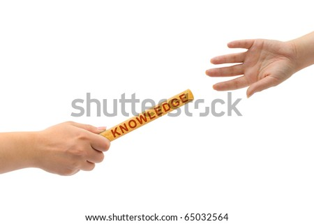 Hands and relay race Knowledge isolated on white background - stock photo