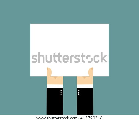 Hands and white sheet of paper, Billboard. Blank banner with place for your text. Businessman hand holding white blank plate.