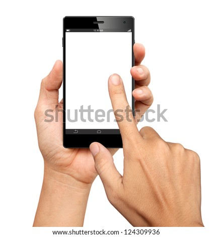 Hands are holding and point on A Big Screen Smart Phone on white background - stock photo