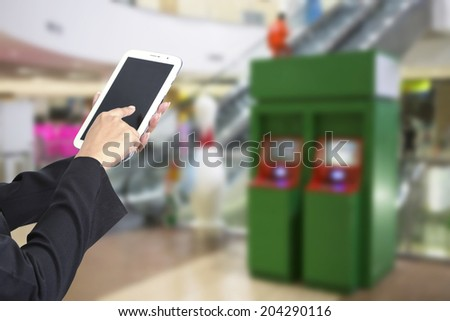 Hands are holding the tablet for banking transactions on-line. - stock photo