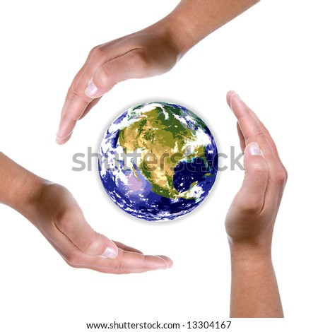 hands around earth globe - nature and environment protection concept - stock photo