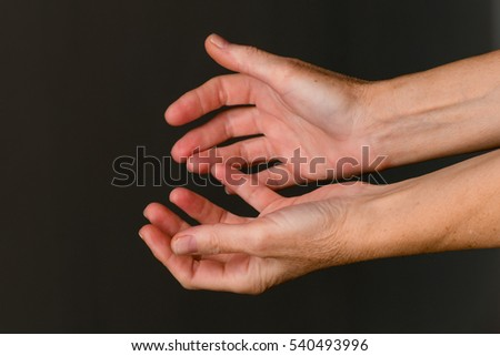 Hands begging for food or help / Old woman begging hands