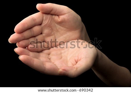 hands - black background
