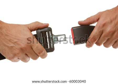 hands button safety belt  isolated on a white background - stock photo