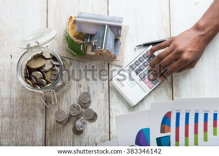 hands calculating home mortgage concept photo - stock photo