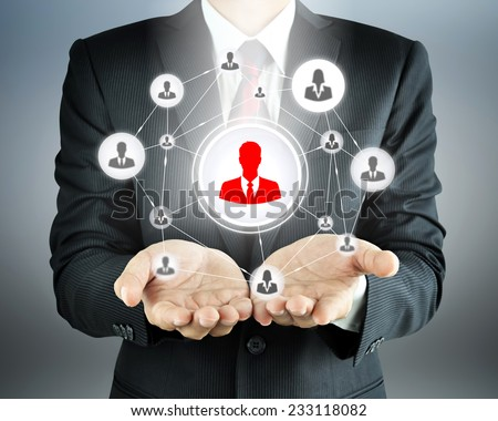 Hands carrying businesspeople icon network - HR, HRM, MLM & teamwork concepts - stock photo