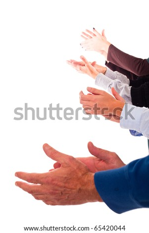 Hands Clapping on White Background - stock photo