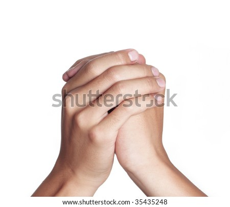 Hands clasped in a prayer