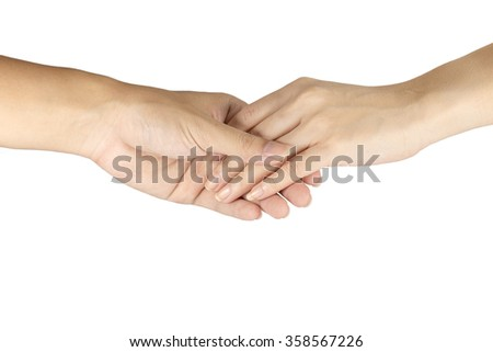 Hands clasped together on white background