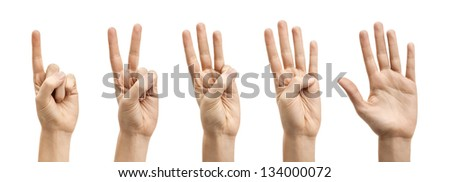 Hands Counting 1-5 against a White Background