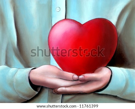 Hands cupped holding a big heart. My original hand painted illustration. - stock photo