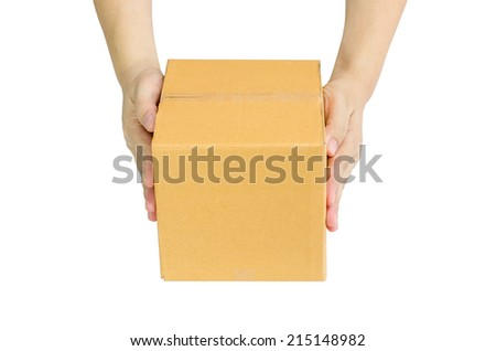 Hands delivery a cardboard box on white background - stock photo