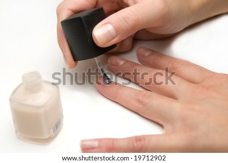 Hands doing  manicure