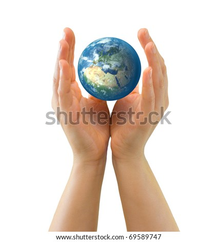 Hands embracing realistic small globe symbolizing environmental care, facing Europe