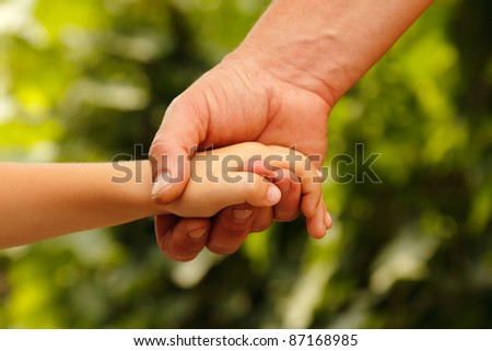 hands family grandson and old grandmother nature outdoor - stock photo