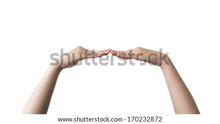 Hands fingertips collision. Isolated on white background - stock photo