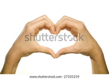 hands forming a heart on white background - stock photo