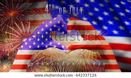 Hands Forming Be Heart For Love With Usa National Flag Over The Multicolor Fireworks Celebrate Over