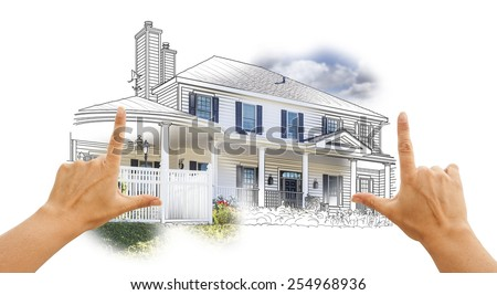 Hands Framing House Drawing and Photo Combination on White. - stock photo