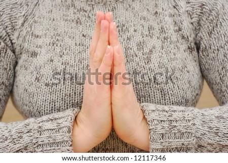 Hands gesture - namaste, mudra - stock photo