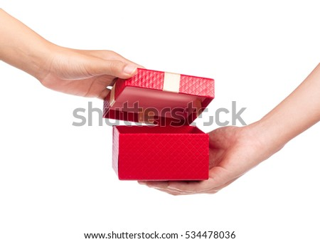 hands giving a gift isolated on white background