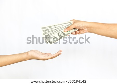 Hands Giving and Receiving Money on isolate white background - stock photo