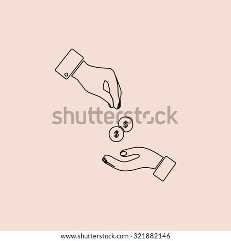 Hands Giving and Receiving Money. Outline icon. Simple flat pictogram on pink background - stock photo