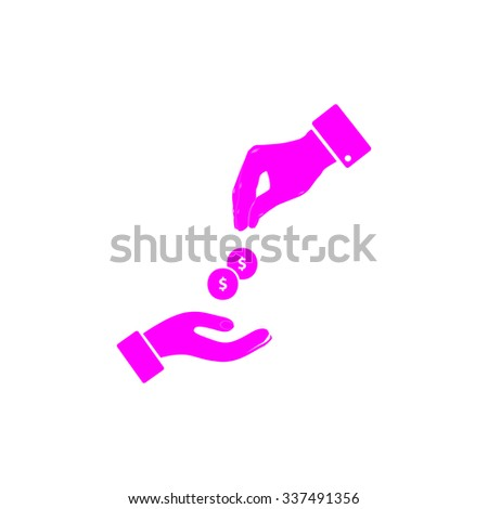 Hands Giving and Receiving Money. Pink icon on white background. Flat pictograph - stock photo