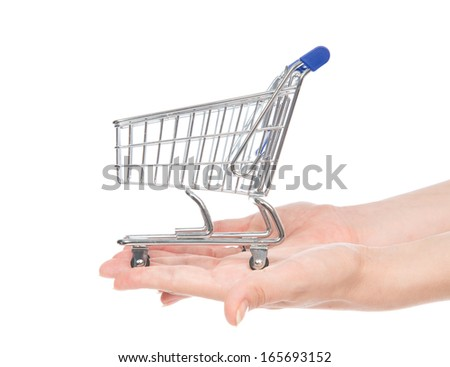 Hands giving empty shopping cart for sale isolated on a white background