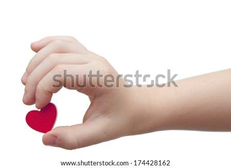 hands hold a red heart on white background - stock photo
