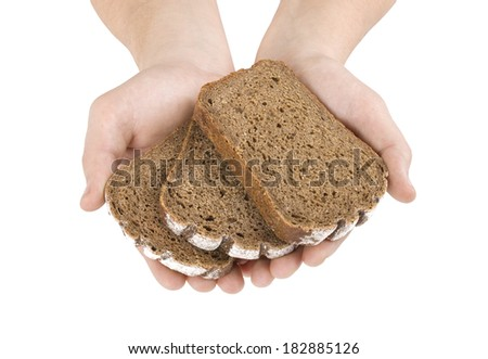 Hands hold a slice of bread isolated on white