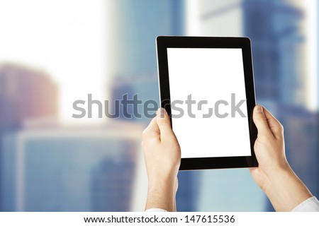 hands holding a blank  tablet - stock photo