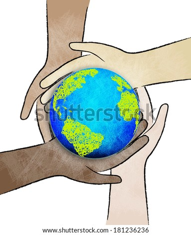 Hands holding a green earth. - stock photo