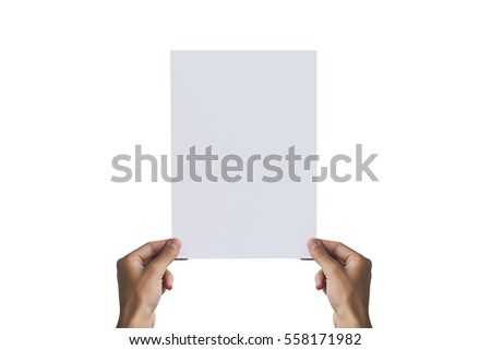 Hands holding A4 paper in the left hand. Leaflet presentation. Pamphlet hand man. Man show offset paper. Sheet template. Book in hands. Booklet folding design. Fold paper sheet display read