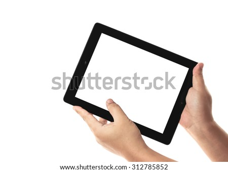 hands holding a tablet on white background